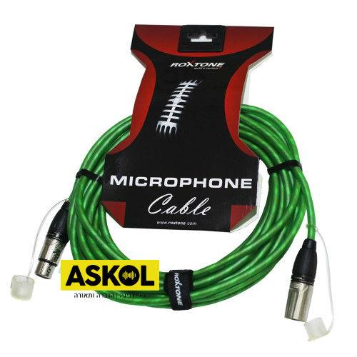 כבל XLR פרימיום אורך 5 מטר בצבע ירוק Roxtone