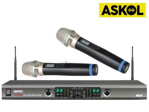 זוג מיקרופונים אלחוטיים ידניים Mipro ACT100
