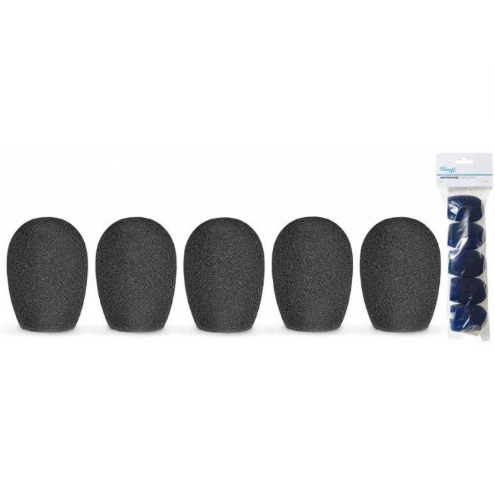 שישיית ספוגים בצבע שחור למיקרופון Stagg WS-S25/B5