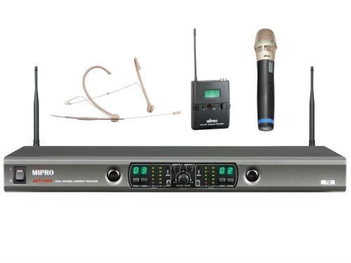 סט כפול מיקרופון ידני + מיקרופון מדונה אלחוטיים מבית Mipro ACT-100A
