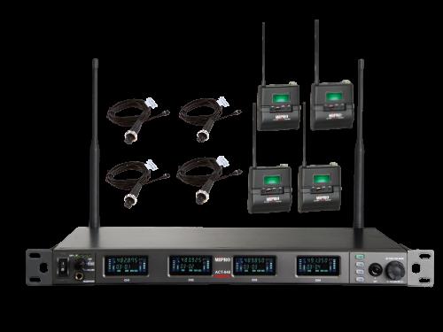 סט אלחוטי שידור דיגיטלי עם 4 מיקרופונים דש אלחוטיים Mipro ACT-848