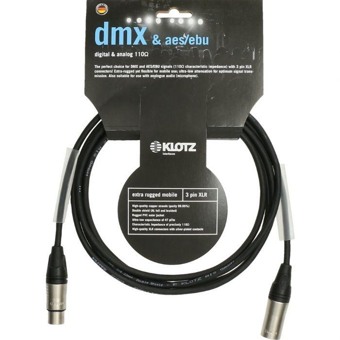 כבל תקשורת AES/EBU DMX מוכן באורך 5 מטר Klotz