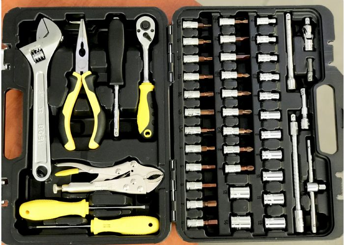 מזוודה משולבת ביטים+ כלי עבודה 51 יחידות