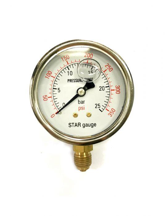 שעון לחץ 0-25 בר נירוסטה עם גליצרין