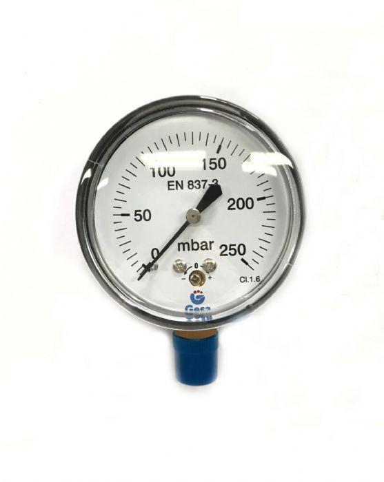 שעון לחץ 0-250 מיליבר נירוסטה