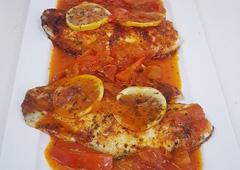 דג מושט מאודה בתוספת ירקות