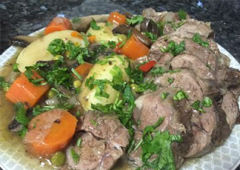 Roast Beef Slices with Potatoes, Carrots and Other Vegetables