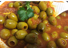 Green Olives in a Spicy Sauce