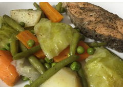 Salmon Steak with Steamed Vegetables