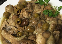 Chicken Legs with Olives and Natural-Colored Mushrooms