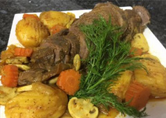 Chuck Tender with Root Vegetables, Potatoes, Mushrooms and Carrots