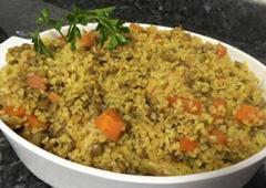 Chicken, Bulgur, Carrot and Green Lentil Stew