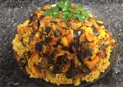 Bulgur, Eggplant, Pepper and Meatball Maqluba