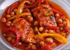 Grey Mullet with Chickpeas and Peppers