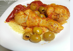 Chicken Legs with Olives in Tomato Sauce