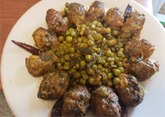 Chicken Meatballs and Goose Breast with Peas and Mangold