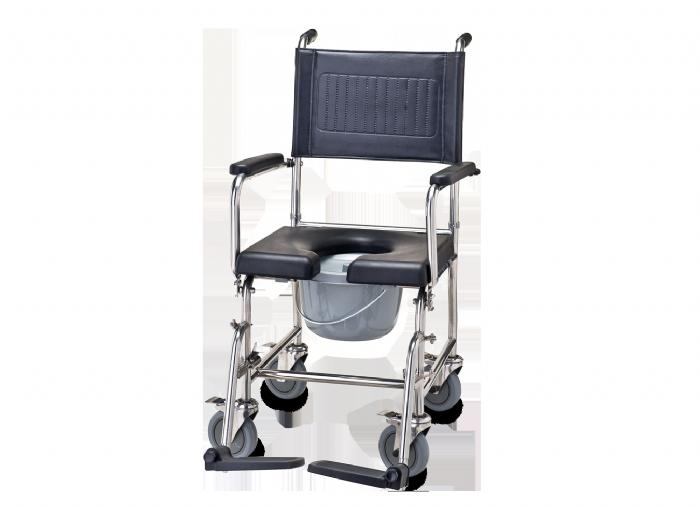 כסא רחצה ושירותים נירוסטה 201 מושב PU וגלגלי נירוסטה