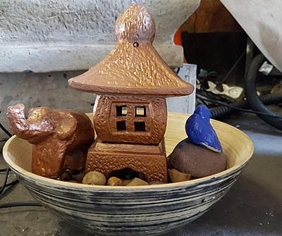 מפל מים לבית מנורה יפנית מקרמיקה