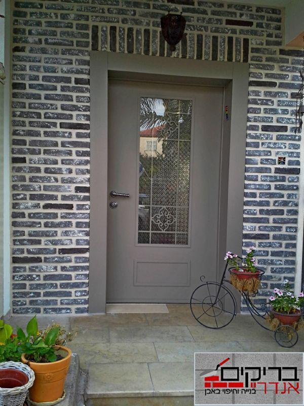 חיפוי דלת כניסה באבן