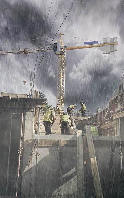 עובדים בגשם