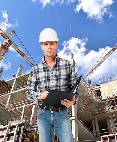 תמונת מבפקח באתר בנייה בזמן בדיקה