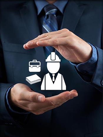 ידיים עם אייקון ביטוח דירקטורים ונושאי משרה