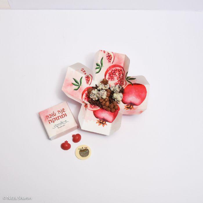 קופסאת פרח בהדפס רימון