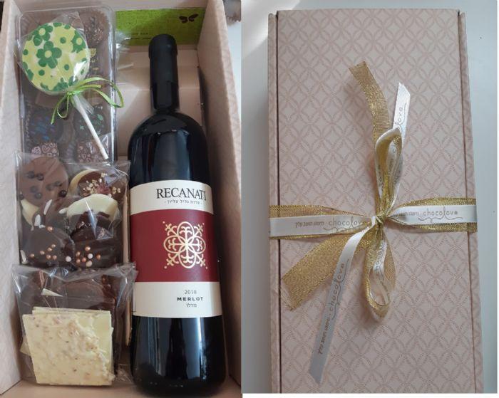 יין ושוקולד במארז עשיר