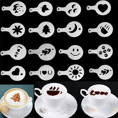 סט של 16 דיסקיות לציור צורות על הקפה מפלסטיק