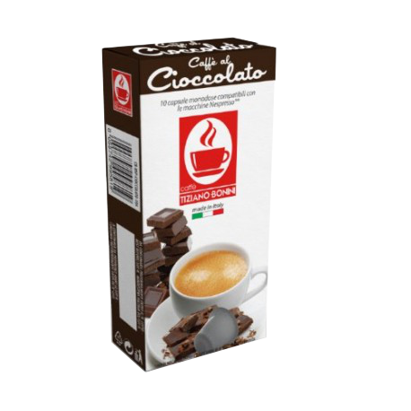 10 קפסולות בטעם שוקולד תואמות נספרסו Bonini Cioccolato