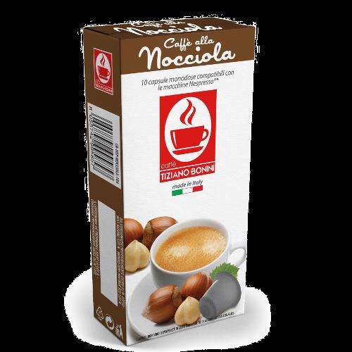 10 קפסולות בטעם אגוזים תואמות נספרסו® Bonini Nocciola