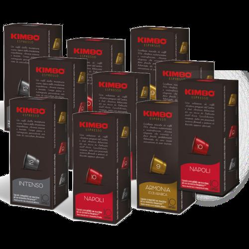 100 קפסולות תואמות נספרסו קימבו + זוג ספלי אספרסו Kimbo