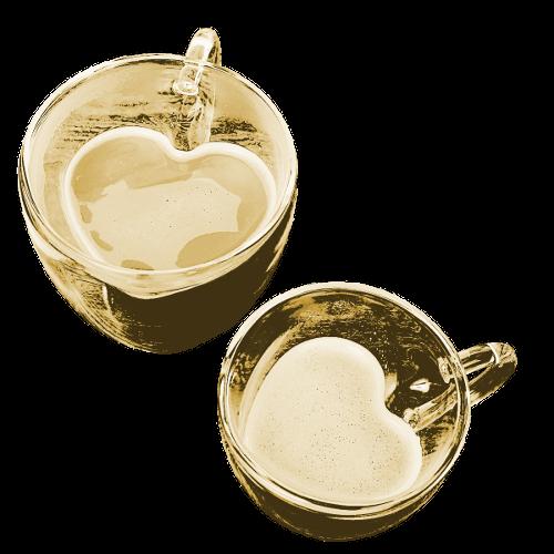 זוג כוסות אהבה תרמיות בצורת לב Darna
