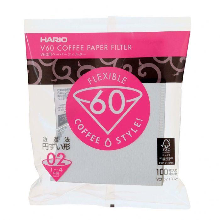 100 פילטרים נייר #2 Hario מתאים ל-2-3 כוסות