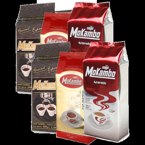 6 שקיות 500 גרם קפה מוקמבו מעורב - Caffe Mokambo Mix