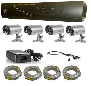 מערכת מצלמות במעגל סגור הכוללת 4 מצלמות ו-DVR