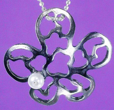 Convex Flower Silver Pendant Pearl