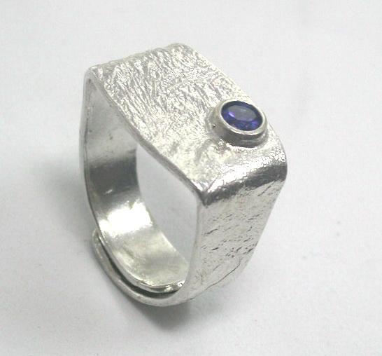 Rectangular silver ring