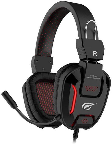 אוזניות אלחוטיות-HAVIT GAMENOTE HV-H2168d RED LED Gaming Headset With Microphone For PC / Laptop / Mobile