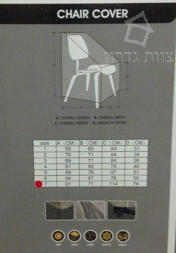 מידות לכיסויים לכסאות גן - צוות-גדרון