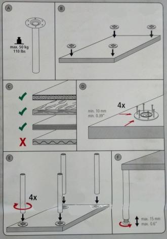 תרשים הרכבה רגליים לשולחן ממתכת - צוות גדרון