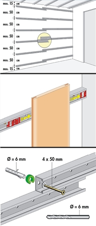 חיבור בעזרת מסילות- פנלים לקירות פנים - צוות גדרון