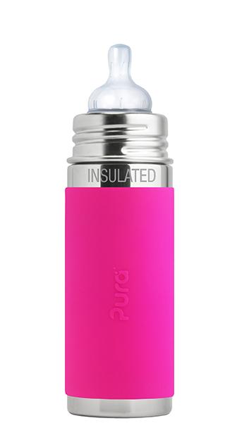 """בקבוק תינוק תרמי 260 מ""""ל ורוד (פטמת נטורל 3+) שומר חום/קור עד 8 שעות!"""