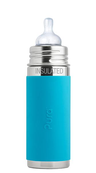 """בקבוק תינוק תרמי 260 מ""""ל כחול (פטמת נטורל 3+) שומר חום/קור עד 8 שעות!"""