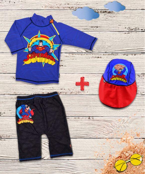 מארז בגד ים וכובע סופרמן  איכותי 50+ UPF