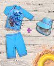 מארז בגד ים דולפינים וכובע איכותי 50+ UPF