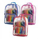תיק גב שקוף לילדים כולל טושים, עפרונות וצבעי פנדה