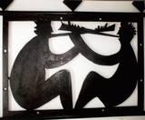 פיסול דקורטיבי - דמויות מנגנים בכלי נשיפה, 2003, לוחות ברזל   3x1 מ´, נס ציונה.