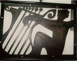 פיסול דקורטיבי - דמות מנגנת בנבל, 2003, לוחות ברזל   3x1 מ´, נס ציונה.