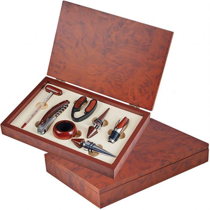 תמונה של מארז יין 7 חלקים בקופסת עץ מהגוני